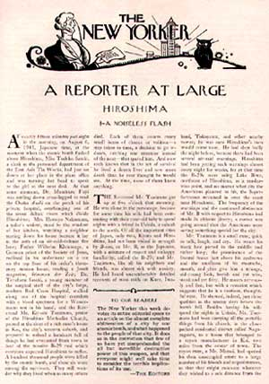 ジョン・ハーシーの「ヒロシマ」を掲載した『ニューヨーカー』の最初のページ