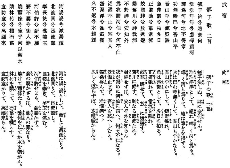 武帝の『瓠子歌』。漢詩なので、日本語インターネット環境では、代替情報を提供できません。