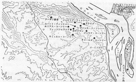 三方を丘にかこまれた西岸地域の農場。(等高線は約100フィートの標高差を表す)
