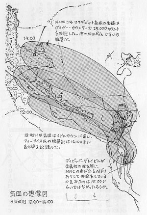 気団の想像図 3月30日12時から14時