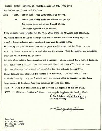 ジェーン・リーの報告書の一部